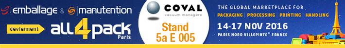 COVAL présent sur ALL4PACK paris 2016 (Salon de l'emballage)