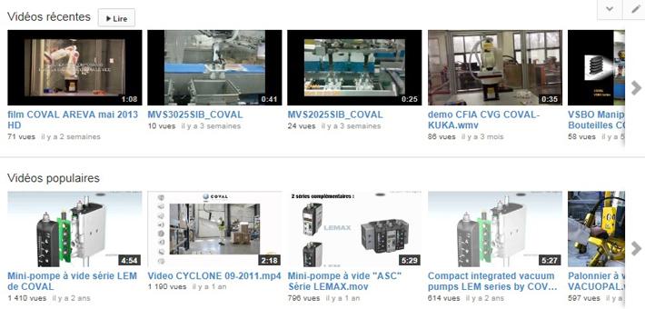 Vidéos d'applications de manipulation par le vide