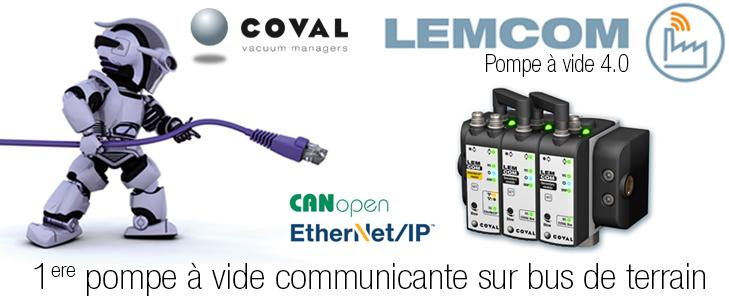 Pompe à vide communicante sur bus de terrain EtherNet/IP et CANopen