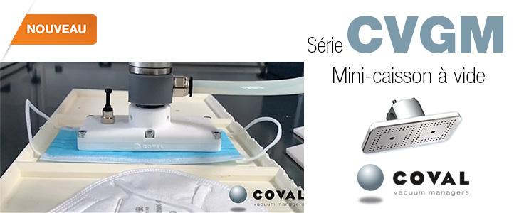 Mini-Caisson à vide pour la préhension d'objets légers et poreux, comme les masques de protection, des découpes de tissu ou de cuir