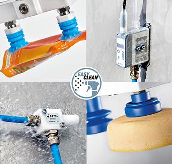 Les composants pour la manipulation par le vide lavables de COVAL pour l'industrie agroalimentaire Washdown