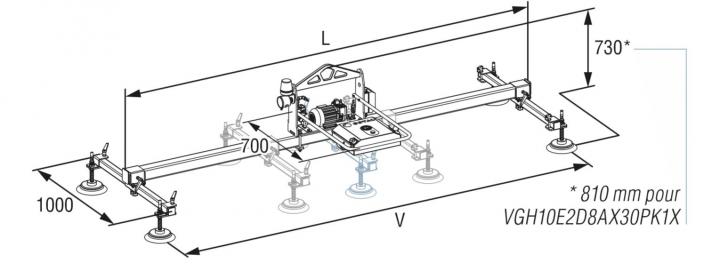 schéma d'un palonnier à ventouses horizontal COVAL, VACUOGRIP série VGH (encombrements - réglages)