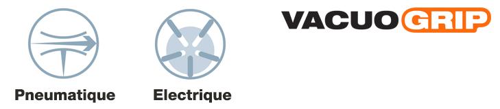 Les appareils de levage COVAL, Série VACUOGRIP-Palonniers à ventouses sont disponibles en version électrique ou pneumatique