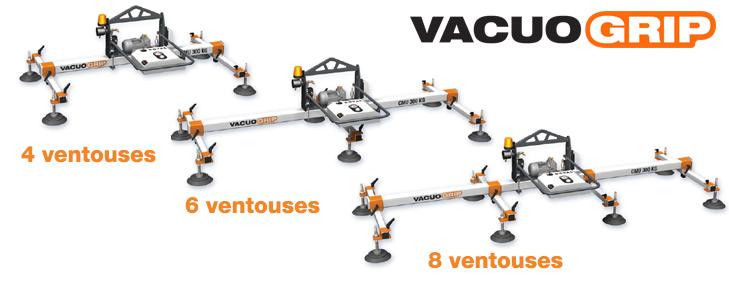 VACUOGRIP COVAL, palonniers à ventouses horizontaux sont disponibles en 4, 6 ou 8 ventouses