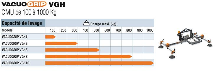 les palonniers à ventouses COVAL, VACUOGRIP, série VGH ont une capacité de levage de 100 à 1000 kg selon les modèles