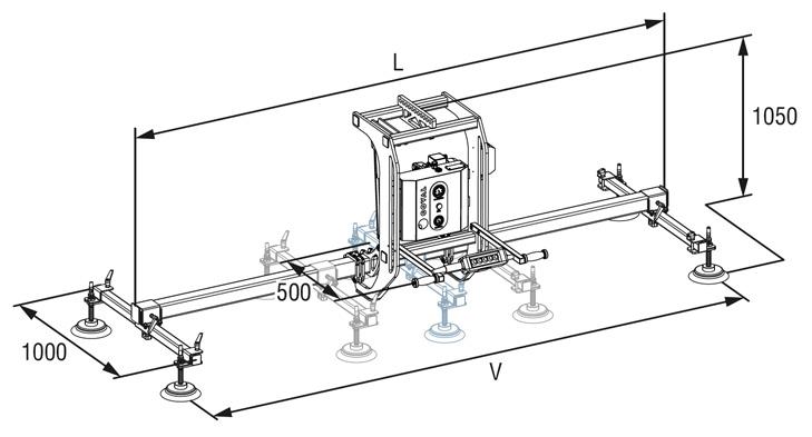 plan d'encombrement d'un palonnier à ventouses COVAL, VACUOGRIP série VGR, permettant la manipulation par le vide et le pivotement 90° de charges de 100 à 500 kg - tôle - panneaux